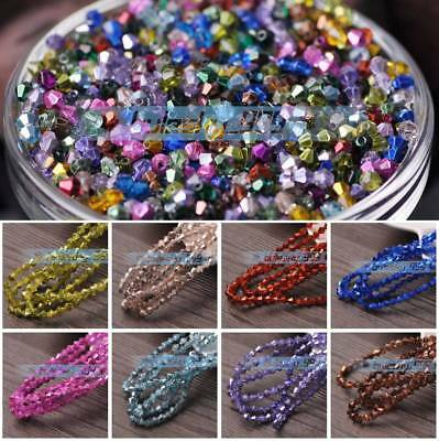 200pcs 3mm Faceted Bicone Crystal Glass Loose Spacer Beads Half Plated & Coated