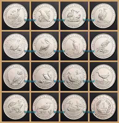 ANATOLIAN BIRD SPECIES of TURKEY 15 PCS COIN SET 1kr 2018 2019 UNC COMMEMORATIVE