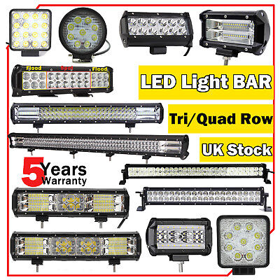 LED Flood Spot Light Bar Quad/Tri Row Driving Work Lamp Off-Road SUV Truck 12V