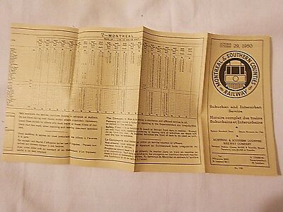 Montreal & Southern Counties Railway Canada Interurban Trolley 1950 Timetable