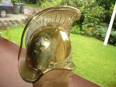 19th Century French Brass Firemans Helmet Courcelles