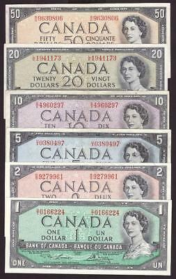 1954 Bank of Canada banknote set $1 $2 $5 $10 $20 and $50 6-notes VF-EF+