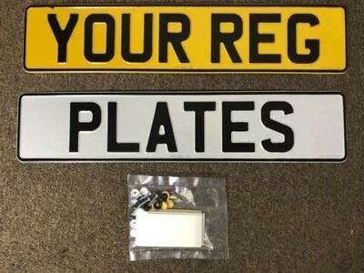 PAIR Pressed metal Show plates car registration any spacing or lettering
