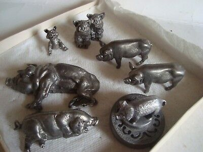 Collection of Mini size pewter pigs