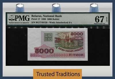 Tt Pk 17 1998 Belarus National Bank 5000 Rublei Pmg 67Q Superb Gem Uncirculated!