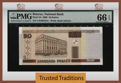 Tt Pk 24 2000 Belarus National Bank Building 20 Rublei Pmg 66 Epq Gem Unc!