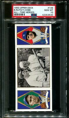 1993 Upper Deck All-Time Heroes #146 Babe Ruth-Ty Cobb Pop 5 Psa 10 B2656529-530