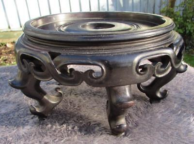 Large Antique Chinese 19thC Carved Hardwood Zitan ? Stand for Bowl / Vase