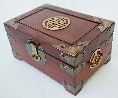 Vintage Chinese Red Wood Jewelry Trinket Box With Brass Accents