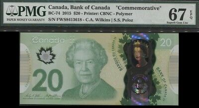 Tt Bc-74 2015 Canada $20 Queen Elizabeth Ii Commemorative Pmg 67Q Modern Superb!