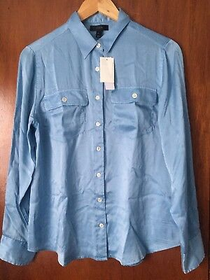 a64aeb095ff990 JCREW WOMENS BLYTHE Silk Shirt Blouse Top Blue Size 8 New - $30.00 ...