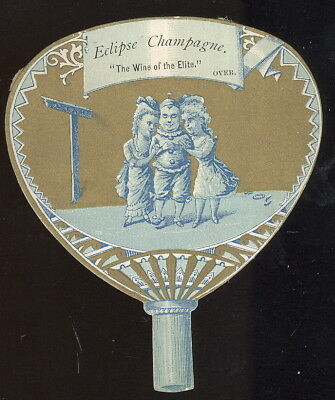 1890S Die Cut Fan Shaped Trade Card, Eclipse Champagne, Haraszthy, San Francisco