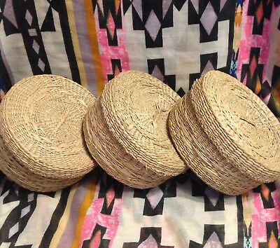 Set Of 3 Vintage Native Hand Woven Grass Baskets With Lids