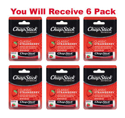 6x ChapStick Classic Skin Protectant Strawberry Carded Retail Packaging