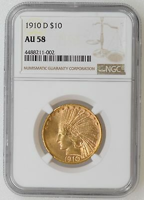 1910-D NGC AU58 Indian Head $10.00 Gold Eagle Nice Strike & Luster - I-16214