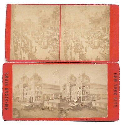 Lot Of 2 Diff 1870s NYC Stereoviews Grand Central Depot & Broadway Near 14th St