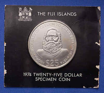 1974 Fiji Islands $25 Specimen Coin Mint State RARE! Mintage 2,400
