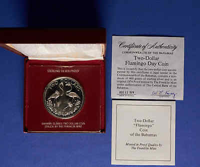 1974 Bahamas $2 Proof Silver Commemorative Coin w/ Box & COA