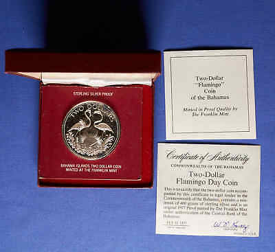 1977 Bahamas $2 Proof Silver Commemorative Flamingo Coin w/ BOX & COA