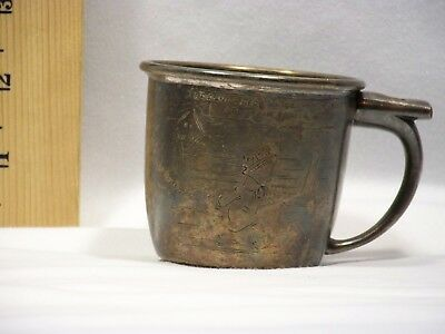"""1930's Skippy Silver Plated Child's Cup, """"Skippy says blow whistle for more"""""""