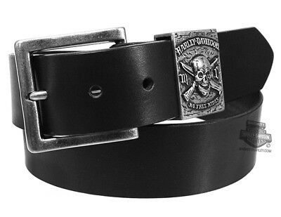 Harley-Davidson Mens No Free Ride Skull and Weapons Black Leather Belt by LODIS