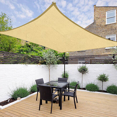 16' x 12' Outdoor Rectangle Sun Sail Shade Patio Canopy Top Cover Desert Sand