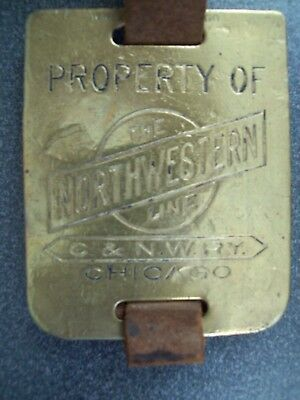 """C&nw Ry """"north Western Line"""" -  Brass Property Tag With Leather Strap"""