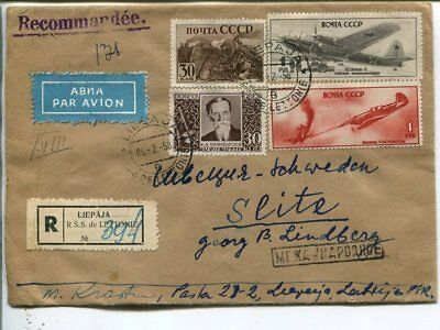 Latvia reg air mail cover to Sweden 1958