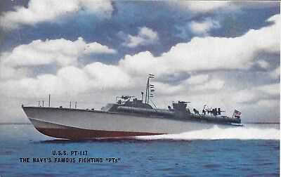 Old Postcard PT-117 Navy's Famous PTs Elco 80 Foot Motor Torpedo Boat unused