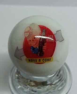 "Nice Coca Cola Collectible Glass 1"" Logo Marble # 2"