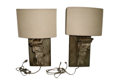 Wooden Sconces Half Shades Electrified 19th Century France
