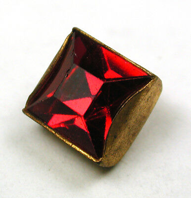 "BB Vintage Jewel Button Square Ruby Bezel Set in Brass 716"" Diagonally"