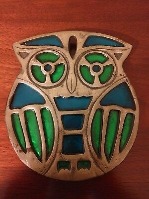 Counterpoint San Francisco Owl Trivet - Vintage - Blue and Green Stained Glass