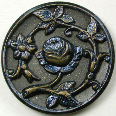 BB Antique Blue Tint Brass Button Lovely Roses Design 1 & 5/16""