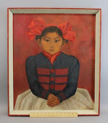 Rare & Authentic OLGA COSTA Mexico Modernist Portrait Oil Painting of Young Girl