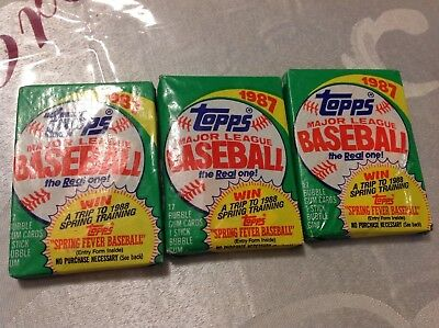 1987 3 Topps Major League Baseball Trading Card Wax Pack Sports Sealed unopened