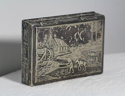 Antique c. 1900 Lawrence B. Smith Scenic Gristmill Silver Plate Hinged Desk Box