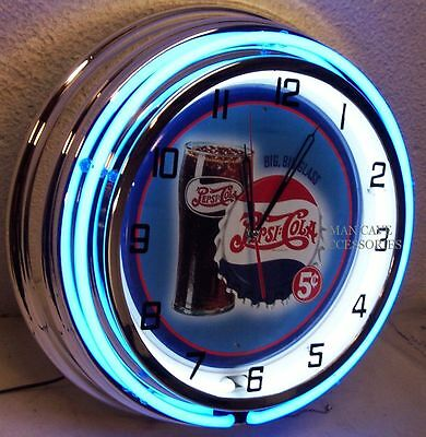 "18"" PEPSI COLA Big Big Glass Sign Double Neon Clock"