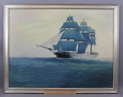 Large Antique Hunter Wood American Maritime Clipper Ship Seascape Oil Painting