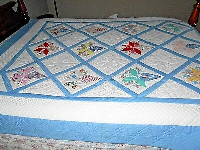 Vintage/Antique Nosegay Applique Quilt Double Sz Feed Sack Amish Hand Quilted