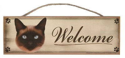 "Siamese Cat ""Welcome"" Rustic Wall Sign Plaque Gifts Home Kittens Pets Cats Paws"