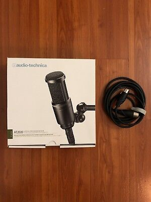 Audio-Technica AT2020 Cardioid Condenser Studio XLR Microphone w/ Monster Cable