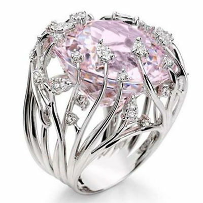Vintage Pink Sapphire Silver Ring Women Engagement Bridal Jewelry Rings Sz 6-10