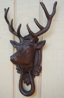 Metal Buck Deer/Elk Head&Antlers Door Knocker Rustic Front Door House&Home Decor