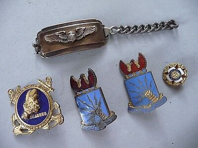 WWII group of sterling US Army Air Pilot Wings ID Bracelet Seabees Combat pins