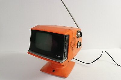 Vintage Sharp TV Rare 70s Orange 5P 12G Solid State Portable Cube Space Age JPN