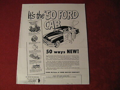 1950 Ford Taxi Cab Original Showroom Brochure Sales Booklet Catalog Old Book