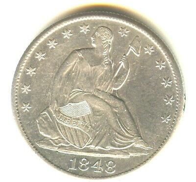 1848 O Seated Liberty Half Dollar AU+ In Grade New Orleans Mint Issue