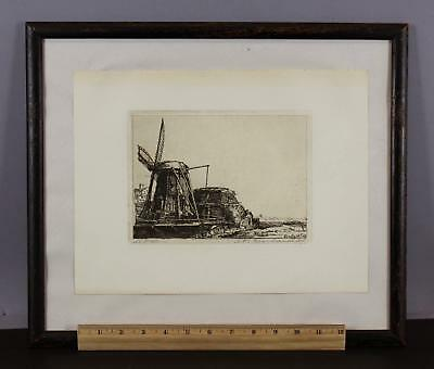 Antique  Rembrandt Re-Strike of 1641 Etching, The Windmill No Reserve!