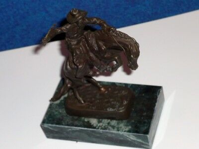 """FREDERIC REMINGTON Miniature Bronze BRONCO BUSTER 5"""" Marble Base REPRODUCTION NR"""